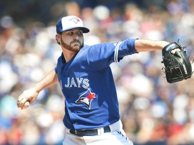 Drew is looking to find his slider, which unfortunately is not located to the right of the page. Image via Fred Thornhill/The Canadian Press (http://news.nationalpost.com/sports/mlb/toronto-blue-jays-reportedly-send-drew-hutchison-to-triple-a-ahead-of-road-trip)