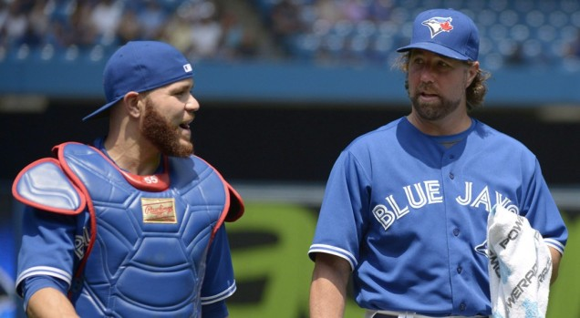 Dickey's knuckleball has ravaged Martin's production. Image via Jon Blacker/CP (http://www.sportsnet.ca/baseball/mlb/blue-jays-could-make-move-to-protect-russell-martin/)